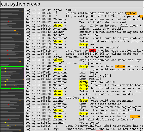 some highlighting on the #python irc channel