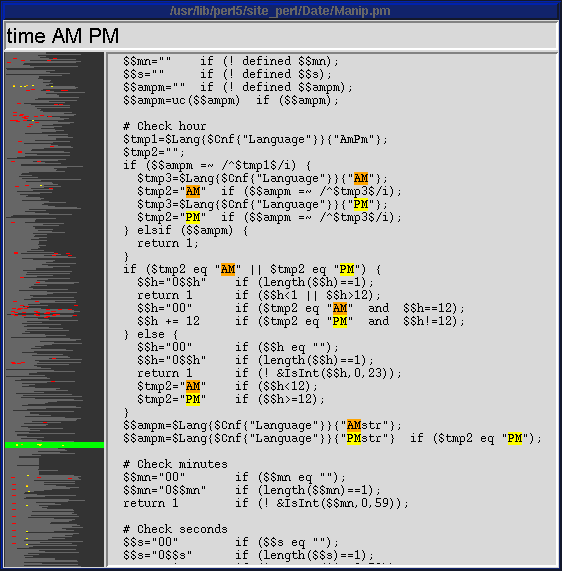 skim helps me scan a source file for the part I'm interested in (a real-life skim usage!)
